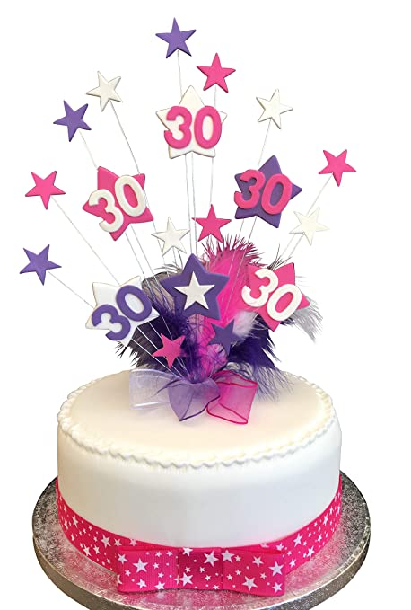 30th Hot Pink Purple White Star Birthday Cake Topper With Marabou