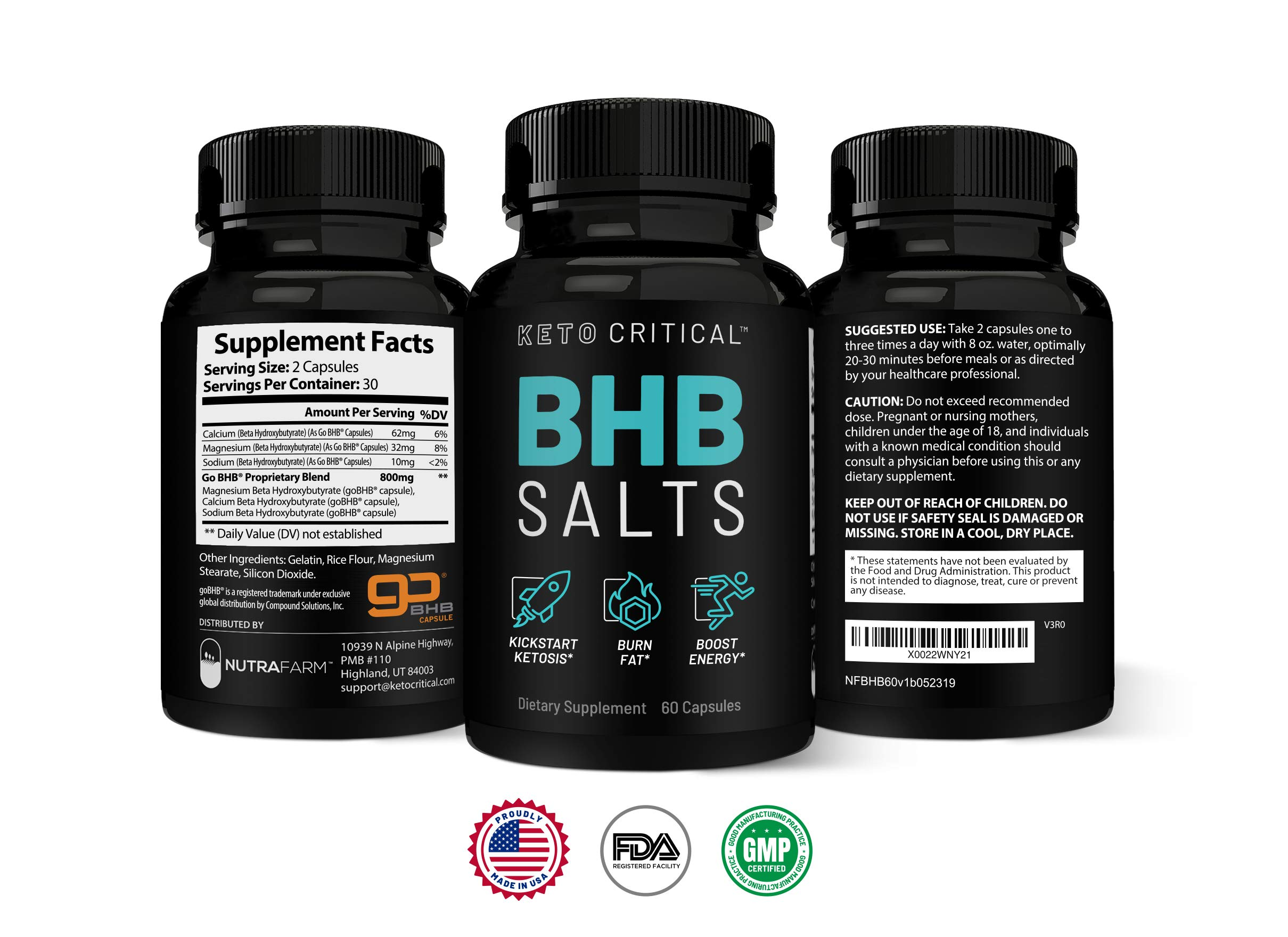 Keto Diet Pills Exogenous Ketones BHB Salts Beta-Hydroxybutyrate (800mg | 60 Capsules) Best Fat Burner & Weight Loss Supplement for Men and Women, Boost Energy & Metabolism by Keto Critical (Image #3)