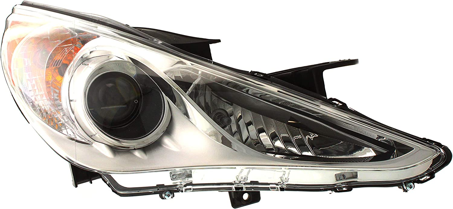 Drivers Headlight Headlamp with Bright Chrome Housing Replacement for 2011-2014 Sonatai 921013Q000