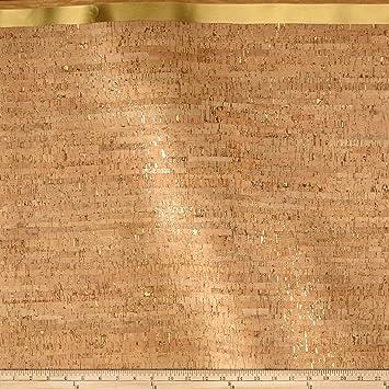 Natural with Gold Metallic Flecks Natural Cork Fabric