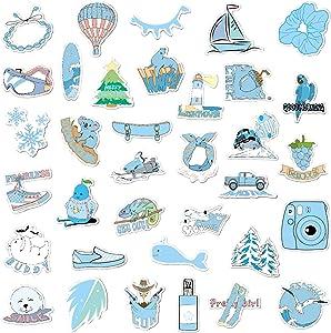 Cute Vsco Girl Stickers for Water Bottles,35 Pcs Hydro Flask Stickers Waterproof Vsco Stickers for Hydro Flask,Perfect Hydroflask Stickers for ID Holders, Books,Phone & Laptop Case (Blue)