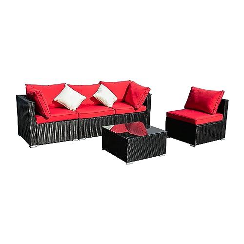 Wonlink 5pcs Patio Furniture Sets, Blue Wicker Outside Patio Furniture Sectional,Patio Sofa Rattan Garden Sectional, Furniture Set Garden Lawn Pool Backyard