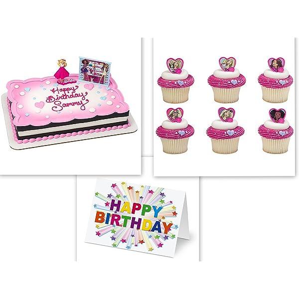 Fabulous Amazon Com Deco Barbie Sweet Sparkles Cake Topper Plus 24 Personalised Birthday Cards Beptaeletsinfo