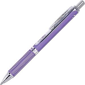 Pentel EnerGel Alloy RT Premium Liquid Gel Pen, 0.7mm Violet Barrel, Black Ink (BL407VBPA)