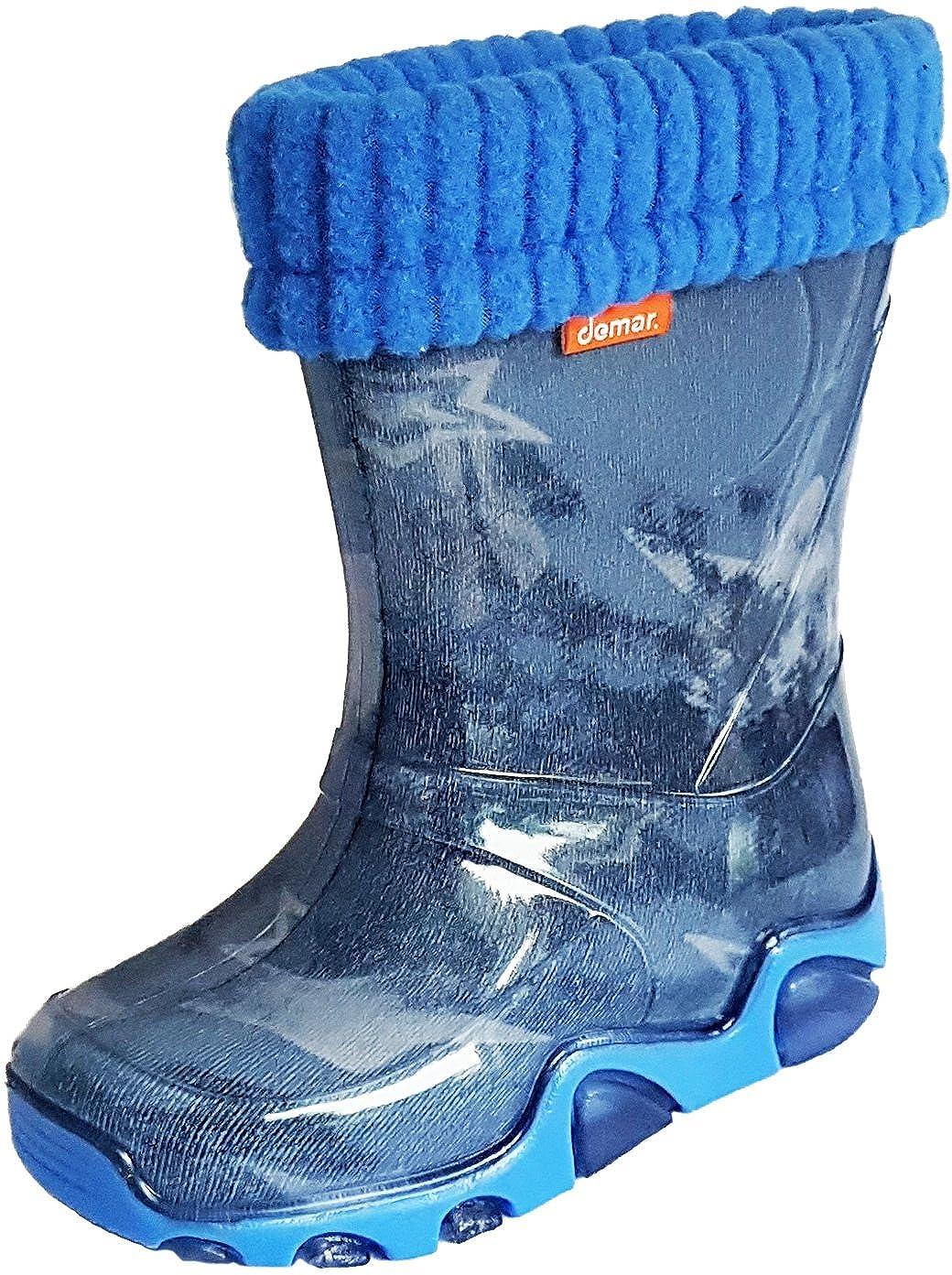 Garçons Filles Bottes de pluie Doublure chaude Polaire Lumière Enfants Bottes en caoutchouc Unisexe Mixte