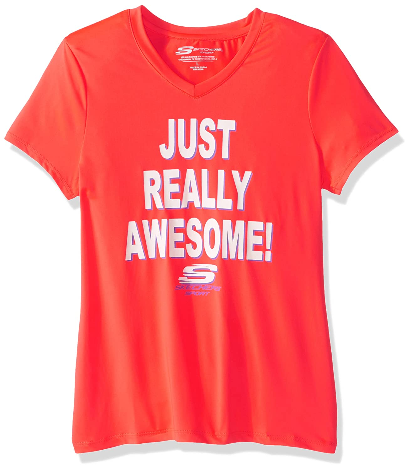 Skechers Big Girls Sport Short Sleeve T-Shirt Fiery Coral Medium 10-12
