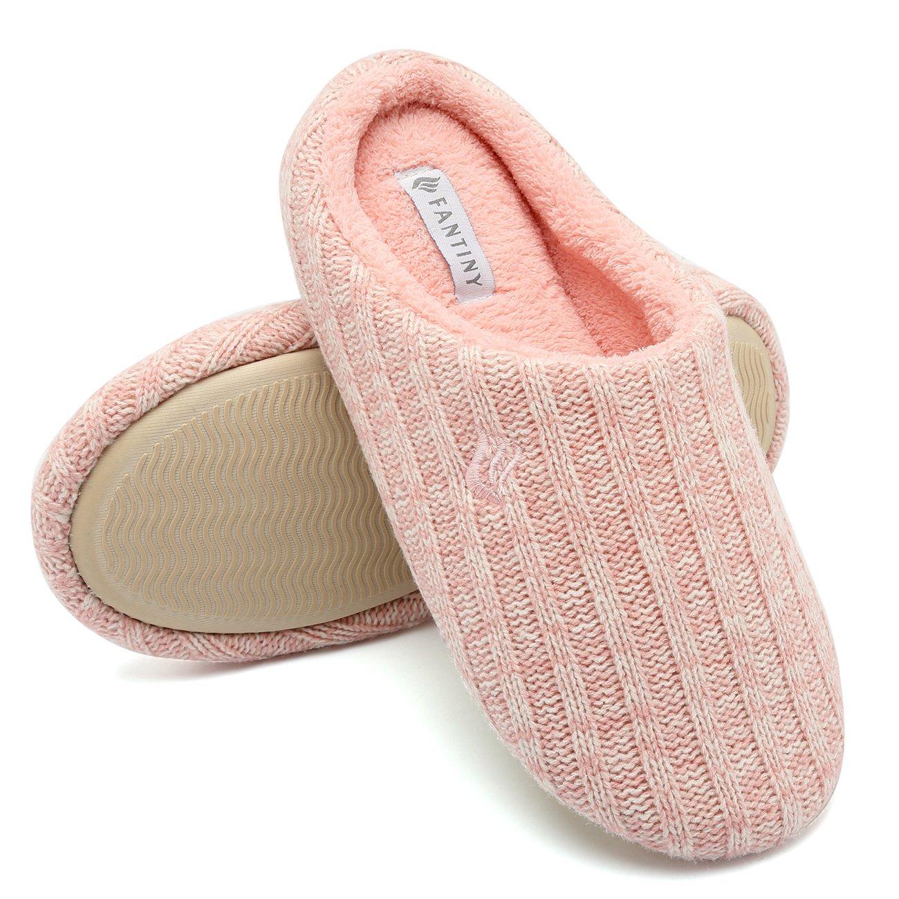 Fanture Women's House Slippers Indoor Memory Foam Cashmere Cotton Knitted Autumn Winter Anti-slip-U4MTW005-Pink-40-41
