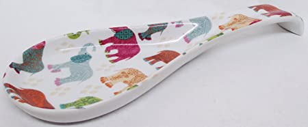 fromeuropewithlove Elephants Spoon Rest Ceramic Porcelain Patched Multicolour Large Spoon Hand Decorated in UK