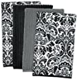 DII Microfiber Multi-Purpose Cleaning Towels Perfect for Kitchens, Dishes, Car, Dusting, Drying Rags, 16 x 19, Set of 4 - Black Damask
