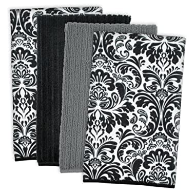 DII Microfiber Multi-Purpose Cleaning Towels Perfect for Kitchens, Dishes, Car, Dusting, Drying Rags, 16 x 19 , Set of 4 - Black Damask