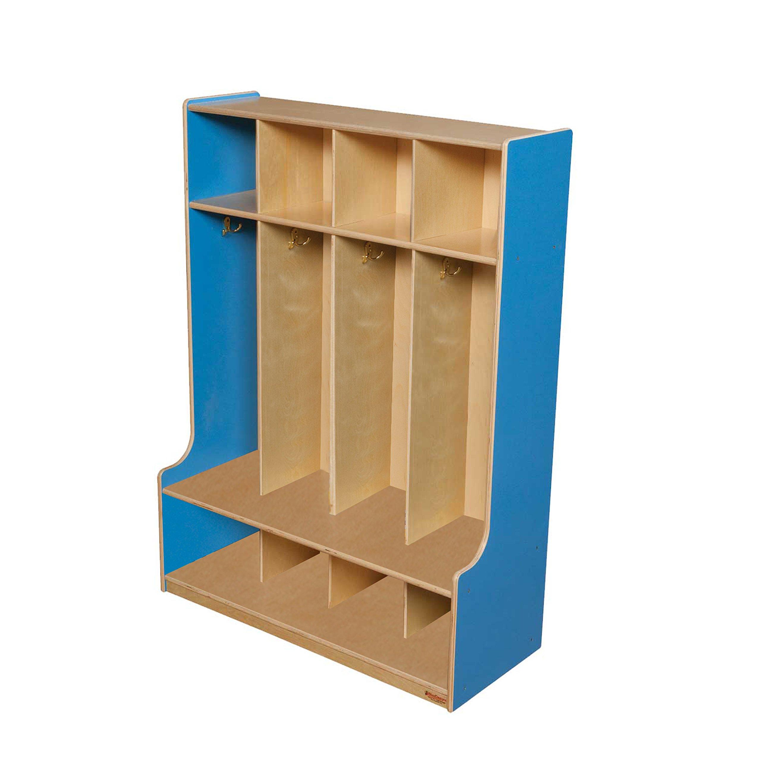 Wood Designs 51004B Blueberry 4 Section Seat Locker, 49'' Height, 18'' Width, 51.5'' Length