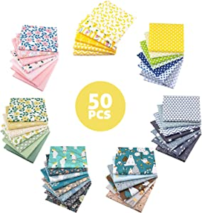 Aubliss 50pcs 100% Cotton Fabric Bundle (9.8in x 9.8in / 25cm x 25cm) Pre-Cut Fat Squares Sheets Printed Floral Sewing Supplies for Patchwork Sewing DIY Crafting Quilting Fabric