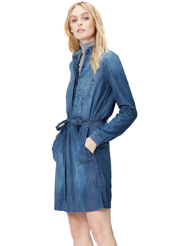 TALLA 36 (Talla del fabricante: X-Small). find. Vestido Camisero de Denim con Cinturón para Mujer