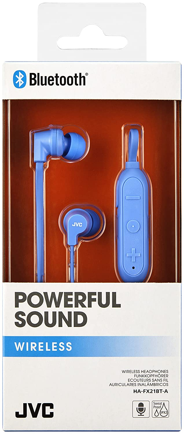 Amazon.com: JVC HAFX21BT Powerful Sound Wireless Bluetooth in Ear Headphones - Blue: Electronics
