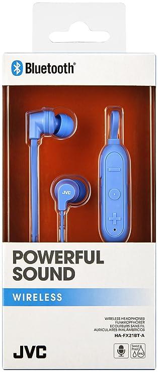 Amazon.com: JVC HAFX21BT Powerful Sound Wireless Bluetooth in Ear Headphones - Blue: Electronics