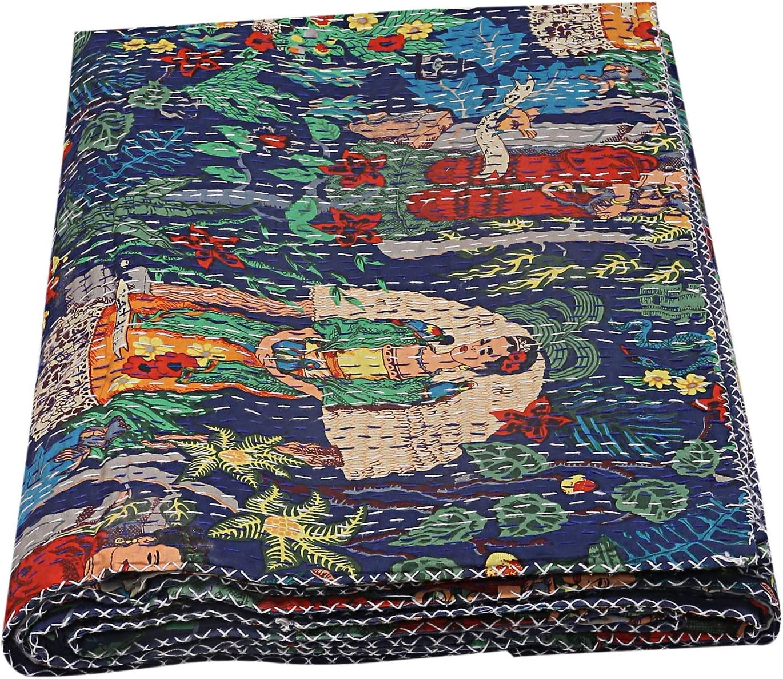 Kantha Bedspread Bedcover Cotton Kantha Quilt Kantha Throw Kantha Quilt Queen Size Kantha Quilt Red Floral Print Dorm Decor Kantha Quilt