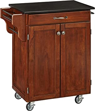 Amazon Com Home Styles Mobile Create A Cart Cherry Finish Two Door Cabinet Kitchen Cart With Black Granite Top Adjustable Shelving Kitchen Islands Carts