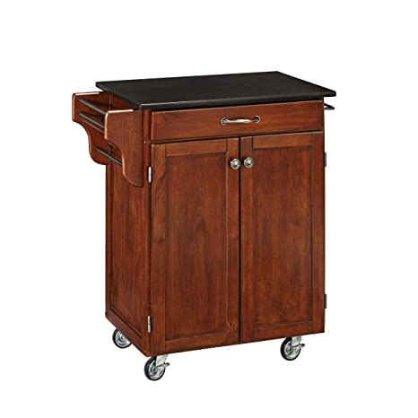Create-a-Cart Cherry 2 Door Cabinet Kitchen Cart with Black Granite Top by  Home Styles