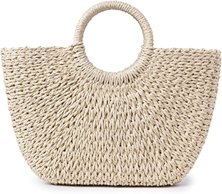JOSEOKO Bolso de verano, bolso de paja de mujer, bolso de