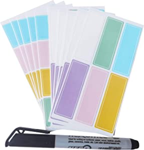 Assorted Colors Waterproof Removable Labels - 170PCS with Pen Daycare Bottles Self-Adhesive Name Label Stickers for Kids School Suppliers,Essential Oil Bottles,Food Container,jar