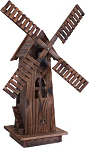 Sunnydaze Decorative Outdoor Wood Windmill - Dutch Inspired Outside Wooden Rustic Yard, Lawn and Garden Decor - Small Class Wind Mill Statue for Backyard and Patio - 34-Inch