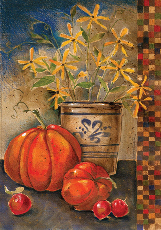 Toland Home Garden Fall Crock 28 x 40 Inch Decorative Rustic Autumn Pumpkin Flower Crockery House Flag