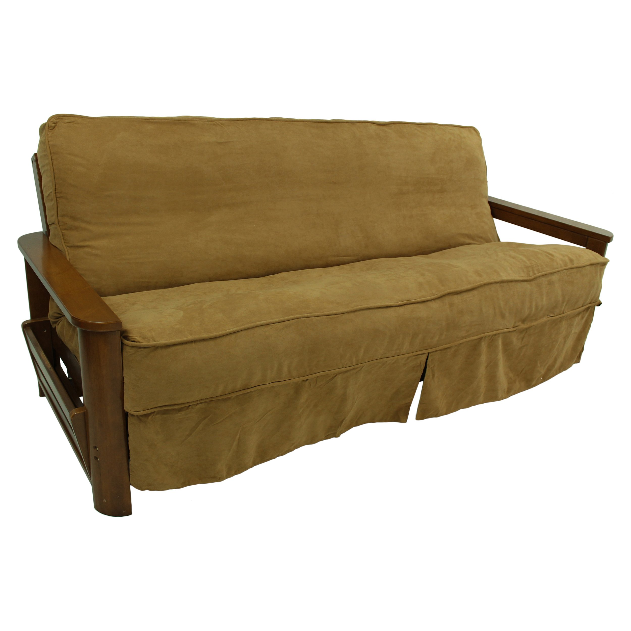 Blazing Needles Solid Microsuede Double Corded 8'' to 9'' Futon Slipcover, Full, Camel