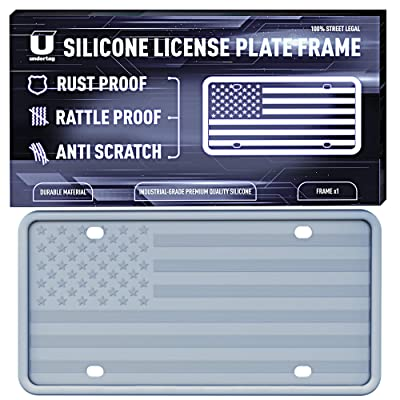UNDERTAG Silicone License Plate Frame for Car - Grey License Plate Frame Silicone with 12 Drainage Holes, Rust Proof, Rattle Proof, Anti-Scratch Universal Durable Car Tag Holder: Automotive