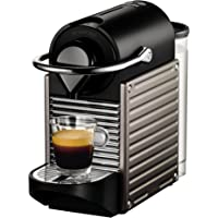 Krups YY1201FD Machine à Café Nespresso Pixie Espresso Lungo Capsules 19 Bars Réservoir 0,7 L Cafetière Expresso Titane