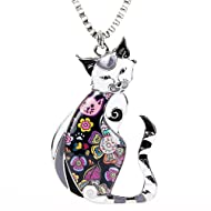 49a5fa0e1cd8 Marte Joven Enamel Printed Cat Box Chain Necklace for Women Teens Cat  Lovers Pendants Jewelry Great Gifts