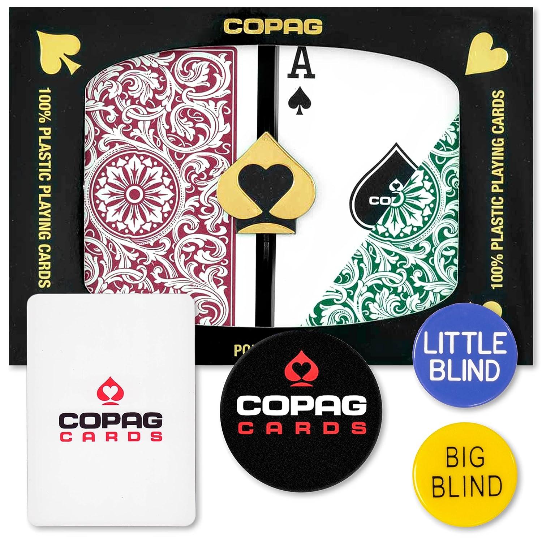 Copag Dealer Kit Poker Size Regular Index Green Burgundy