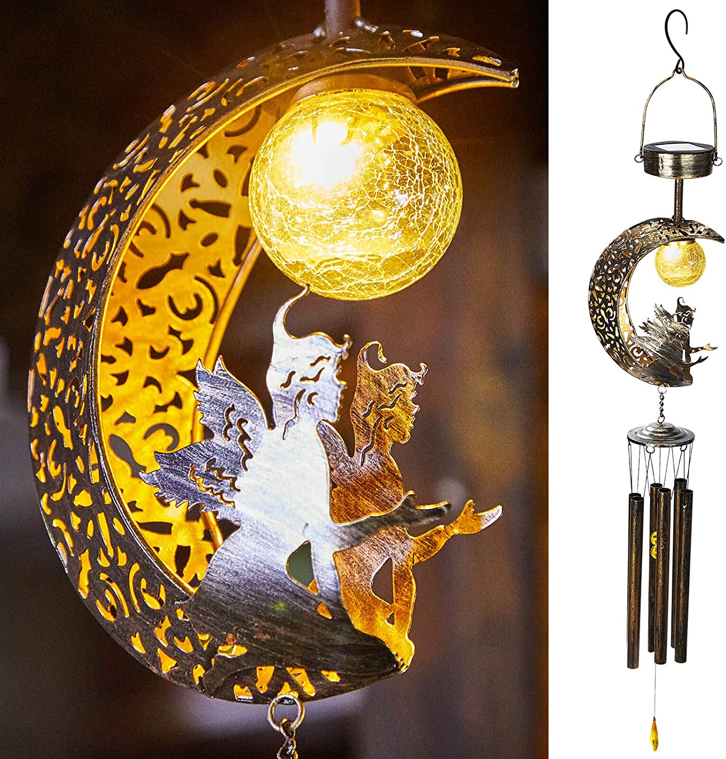 Go2garden Solar Wind Chimes Outdoor Lights Decorative Large Moon Angel Sympathy Memorial Gift, Metal Crackle Class Ball, Warm LED Hanging Lighting for Outside, Yard, Patio Decoration (Bronze)