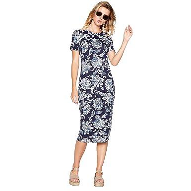 Debenhams The Collection Womens Navy Floral Print Round Neck Short Sleeve Midi Dress 12