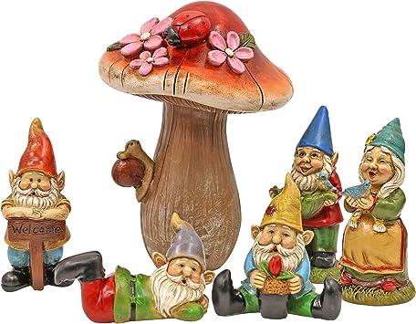 MAISANA 妖精ガーデン用ミニチュアノーム ノームガーデンアクセサリーキット マッシュルームガーデン装飾 屋外6点セット お庭に魔法を吹き込みましょう。