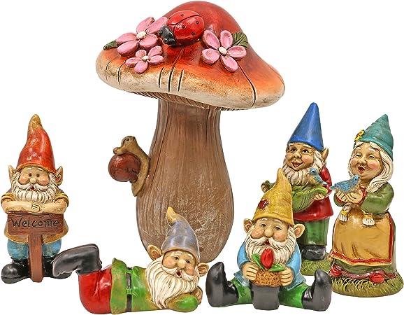 "/""Fairy Garden/"" Sky Blue Mushrooms Set of Two Resin Figurine Fantasy"