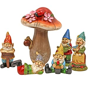 Miniature Fairy Garden Houses, Fairies, Figurines, Animals, Kits, Furniture, and Supplies (Gnomes Set)