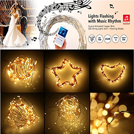 amazoncom led string lightsmuequ 10m 100led sound activated copper wire fairy lights ip65 car interior music sync light battery operated with 11 mode for
