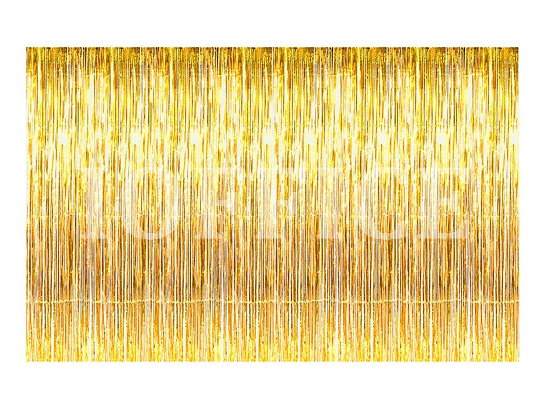 Amazon.com: IOFFICE 12 ft X 8 ft. Metallic Gold Foil Fringe Curtains ...