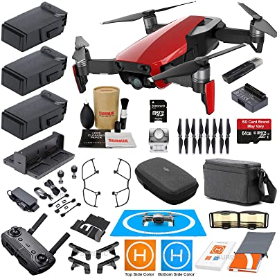 DJI Mavic Air Fly More Combo (Flame Red) With 3 Batteries, 4K Camera Gimbal Bundle Kit with Must Have Accessories: Electronics