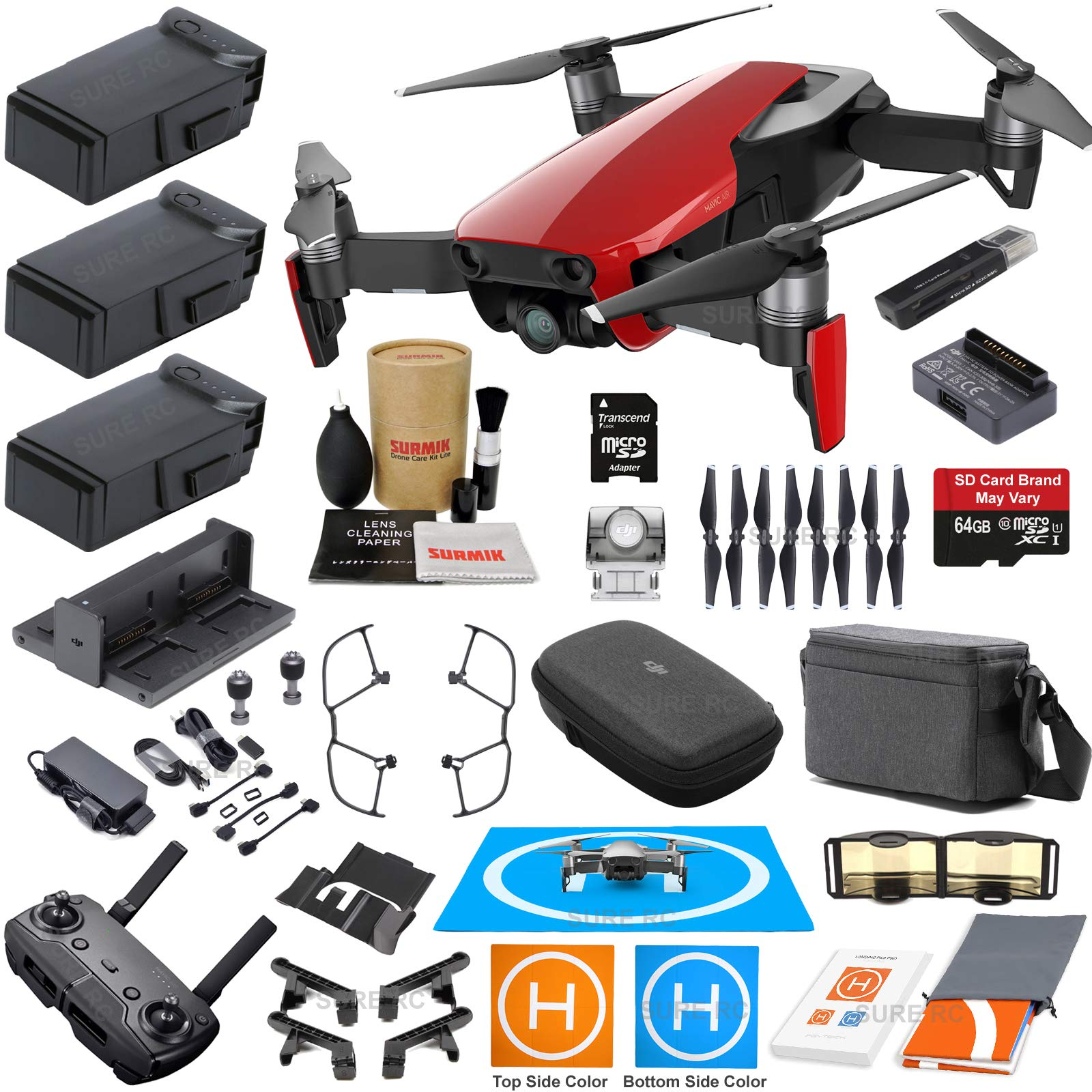 DJI Mavic Air Fly More Combo (Flame Red) With 3 Batteries, 4K Camera Gimbal Bundle Kit with Must Have Accessories by DJI