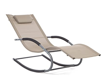 LUCKUP Outdoor Recliner Pool Chaise Patio Rocking Wave Lounger Chair With  Pillow,Tan