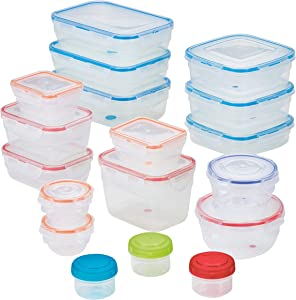 LOCK & LOCK Easy Essentials Color Mates Food Storage lids/Airtight containers, BPA Free, 36 Piece, Clear