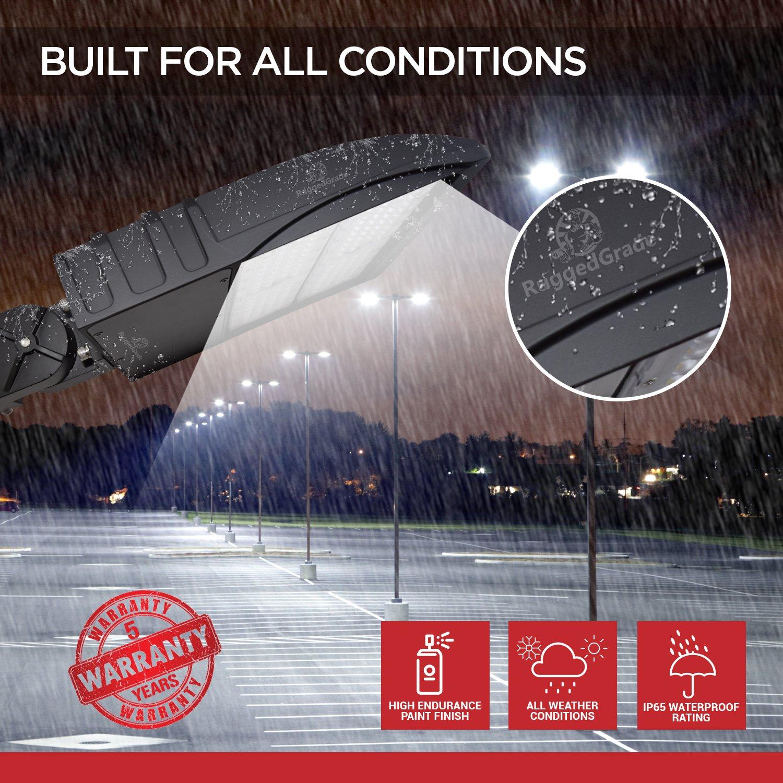 300 Watt NextGen LED Parking Lot Lights - 40,000 Lumen - Super Efficiency 130 Lumen to Watt - 5000K Bright White - Replaces 1000W Halide - LED Shoebox Lights - Slip Fit Mount - With photocell by RuggedGrade (Image #5)