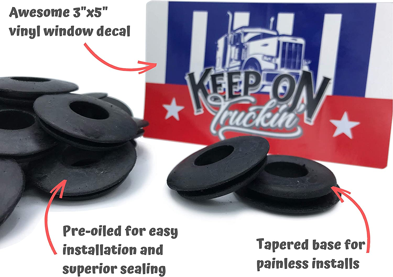 """Real Genuine Rubber 20 KCP Performace Fleet Rubber Gladhand Seals with Window Sticker 10 or 20 Pack with Bonus /""""Keep On Truckin/'/"""" Sticker"""