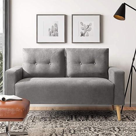 Amazon.com: Pawnova Upholstered Mid Century Loveseat Sofa For Living Room, Modern Design Sofa With Tufted Back, Gray: Furniture & Decor