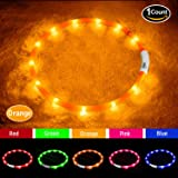 fashionandcool Led Dog Collar, USB Rechargeable, Glowing Pet Dog Collar Light for Night Walking Safety, Water Resistant Flashing Light Up Dog Necklace for Small, Medium, Large Dogs, Orange