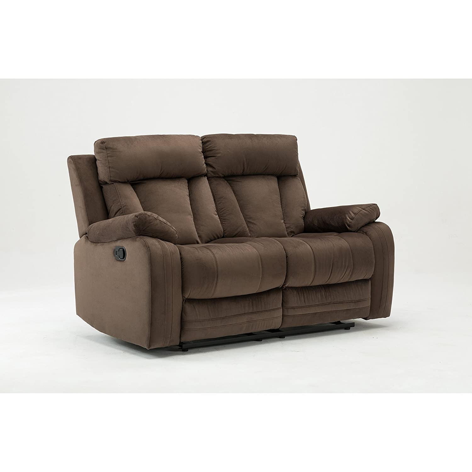 Blackjack Furniture The Elton Collection Modern Reclining Living Room Den Loveseat, Beige