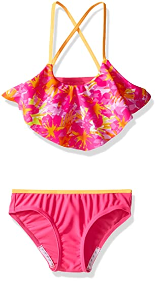 3415a799f2 Speedo Girls Jungle Floral Ruffle Two Piece Bikini Set  Amazon.ca ...