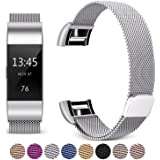 Hotodeal Fitbit Charge 2 Bands, Bracelet Milanese Loop Stainless Steel Metal Accessories Replacement Strap with Magnet Lock,No Buckle Need for Fitbit Charge 2 Fitness Tracker Men Women Small Large