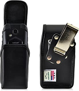 product image for Turtleback Belt Case Made for Kyocera DuraXV LTE E4610 Black Vertical Holster Leather Pouch with Heavy Duty Rotating Ratcheting Belt Clip Made in USA